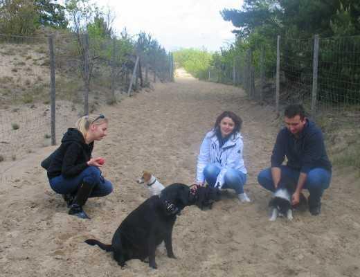 Fin,Baśka,Tolek i Winona na plaży